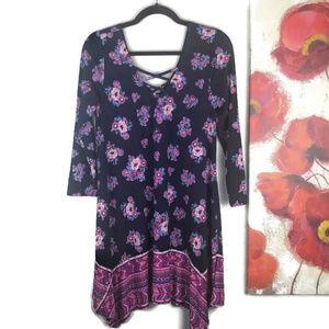Three Pink Hearts | Boho Floral 3/4 Sleeve Dress